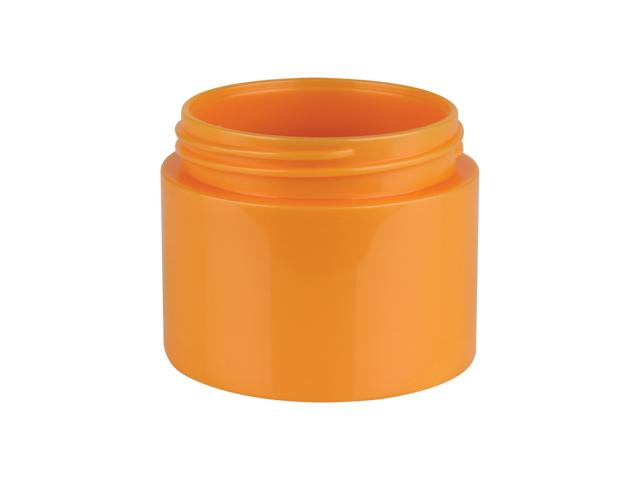 1.5 orange iridesent plastic thick wall round jar with square base.
