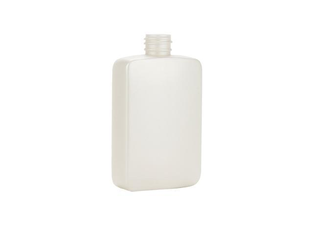 "4 oz. pearl white oblong HDPE 20-410 plastic bottle.  Bottle is 4"" high including neck x 1 3/8"" wide x 1"" deep."