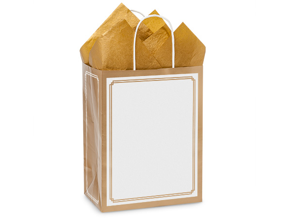 8 in. x 4.75 in. x 10 in. Medium (Cub) Duet Gold-White Paper Gift Bag 100% Recycled VOLUME DISCOUNTS