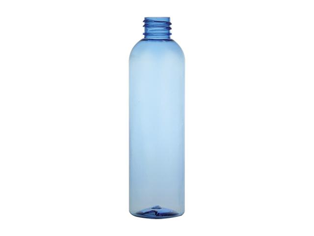 4 oz. light blue PET round BPA free bullet 20-410 plastic small bottle with fine mist sprayer or lotion pump.