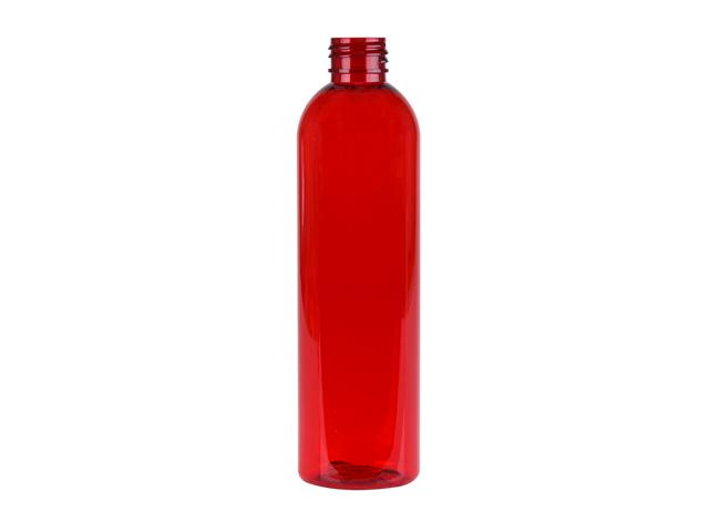 8 oz. Cranberry Red 24-410 Semi-Translucent PET (BPA Free) Plastic Round Bullet Bottle (Stock Item)
