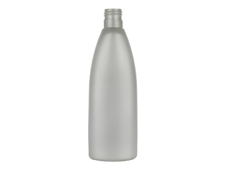 10 oz. Silver Pearl HDPE 24-415 Opaque Tapered Squeezalbe Oval Plastic Bottle w/ Dispensing Cap