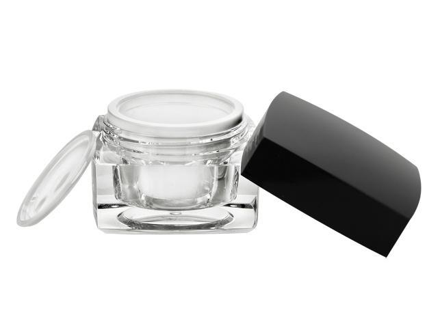 1 oz (30 ml) Clear/Black Thick Wall Acrylic Square Jar w/ with Black Cap, Foam Liner, White Inner & Sealing Disc (3 pc) 40% OFF
