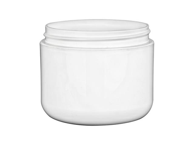 White plastic jars offered in a 1/2, 1, 2, 4, 8, 10 & 13 oz sizes.