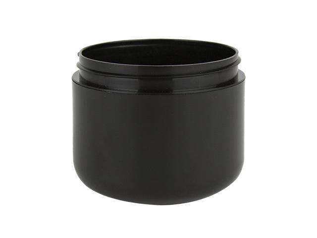 Black plastic jars offered in a 1/2, 1, 2, 4 & 8 oz sizes.