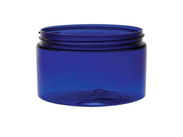 2 pc. set of 4 oz. Dark blue translucent 70-400 plastic single wall straight sided PET round base jar with silver cap.