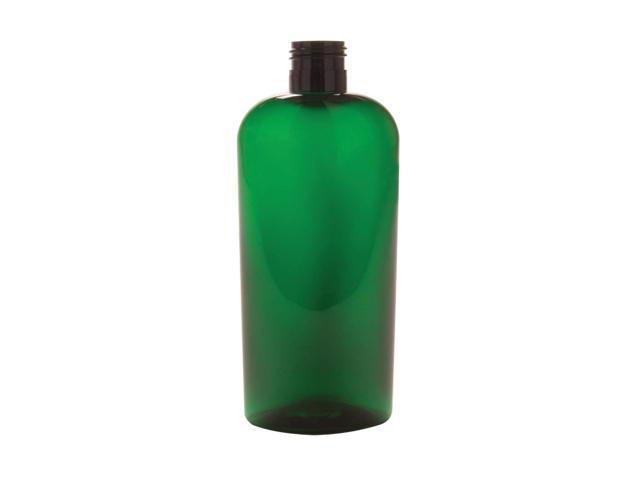 6 oz green pet oval bottle with brown dispensing cap