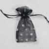 4x6 in. Black Organza Bag with White Dots (12 pk.)