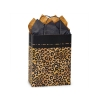 8 in. x 4.75 in. x 10 in. Medium (Cub) Kraft-Black Leopard Safari Print Bag 100% Recycled VOLUME DISCOUNTS