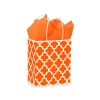 8 in. x 4.75 in. x 10 in. Medium (Cub) Orange Geo Graphics Print Bag 100% Recycled VOLUME DISCOUNTS