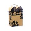 8 in. x 4.75 in. x 10 in. Medium (Cub) Kraft-Black Paw Print Bag 100% Recycled VOLUME DISCOUNTS