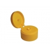 22-400 Yellow Dispensing Flip Top Bottle Cap w/ .125 in. Orifice & 1.5 in. Diameter