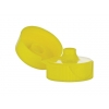 28-400 Yellow Ribbed Flip-Top Dispensing Bottle Cap w/ .250 in. Orifice, HS Liner & Pour Spout