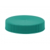 53-400 Teal Flat Ribbed PP Plastic Non Dispensing Jar Cap w/ Smooth Top & Liner-less