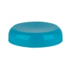 Teal plastic 70-400 continuous thread liner-less dome cap with smooth finish & stacking ring.