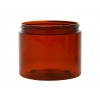 16 oz. Amber Dark PET 89-400 Plastic (BPA Free) Single Wall Jar w/ Colored Lids