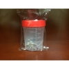 4 oz. Clear PP Plastic Single Wall Graduated Sterile Specimen Jar w/ Label Area & Red Lids VOLUME DISCOUNTS