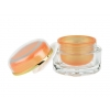 1 oz (30 ml) Clear/Orange 49 mm Acrylic Jar (Thick Wall) with Orange Cap & Sealing Disc (3 pc set)  50% OFF with  VOLUME DISCOUNTS